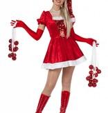 Kerstvrouw pailletten+muts