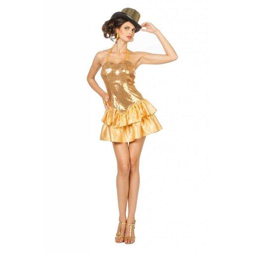 Sexy Paillettenjurk goud met satijnrokje