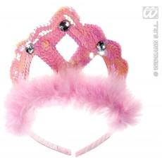 Tiara roze pailletten met marabou en 3 stenen