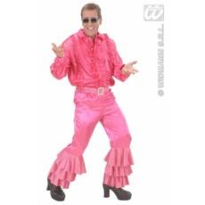 Roze broek satijn met pailletten man