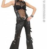 Net T-shirt vrouw zwart lederlook