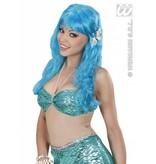 Pruik zeemeermin blauw met schelpen