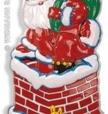 Wanddecoratie kerstman in schoorsteen
