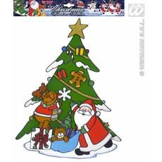 Raamsticker kerstboom met kerstman 40cm