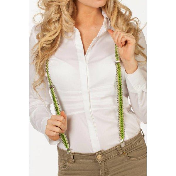 Bretels pailletten groen shiny