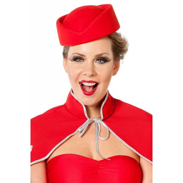 Hoedje stewardess wolvilt rood