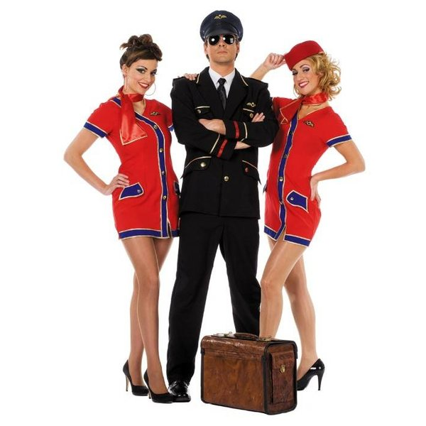 Stewardess rood/blauw