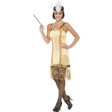 Charleston flapper kostuum goud