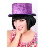 Hoge hoed lurex glitter paars