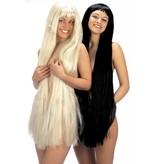 Pruik extra lang 100cm blond of zwart