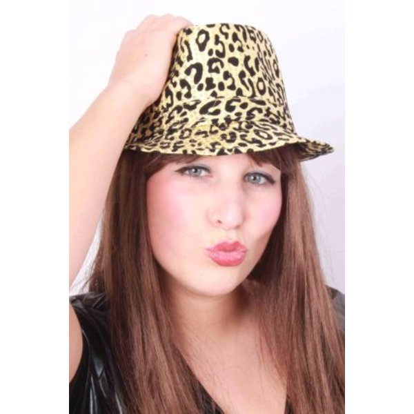 Gangsterhoed met animalprint goud