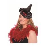 Heksenhoedje mini zwart met rood