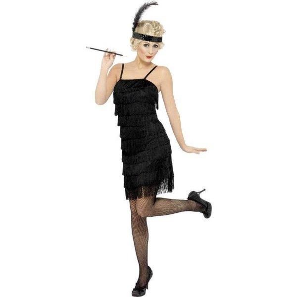 Zwarte Fringe flapper verkleedkleding elite