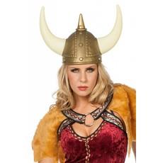 Helm Viking goud met horens