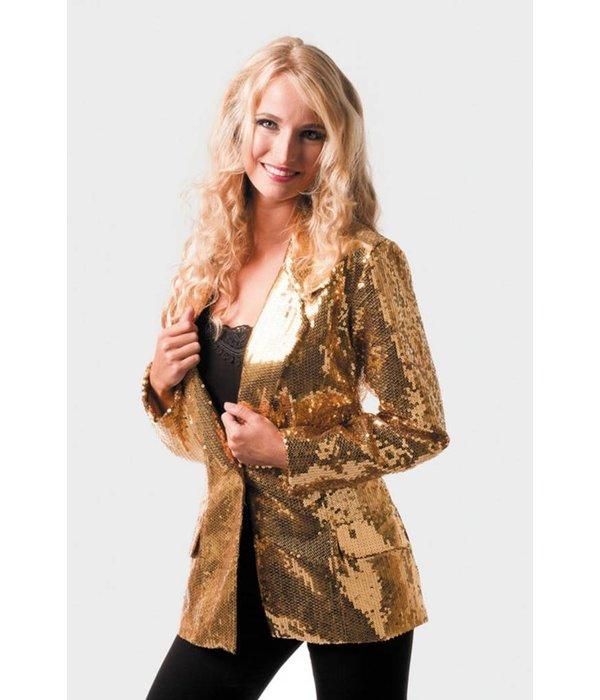 Colbert pailletten dames luxe goud