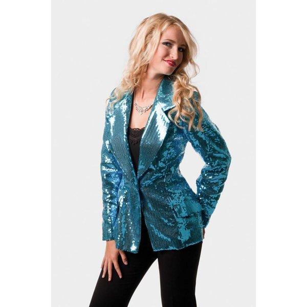 Colbert pailletten dames luxe blauw