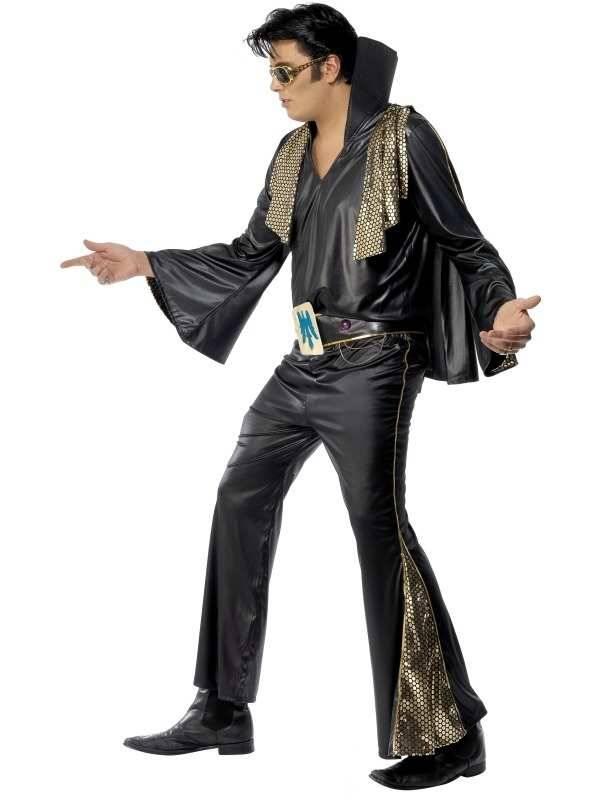 Elvis carnavalspak zwart goud for Goud zwart versiering