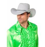 Cowboyhoed glitter zilver