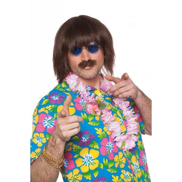 Lennon pruik kort met snor