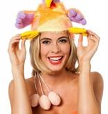 Funhoed kip met eieren