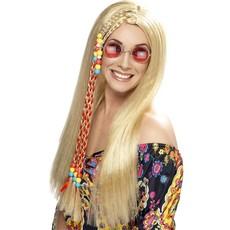 Hippy Party pruik blond met gekleurde kralen