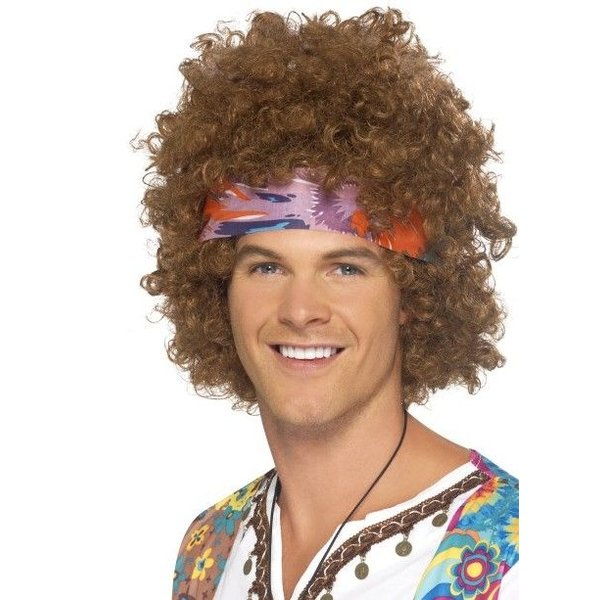Hippie pruik met hoofdband Jim