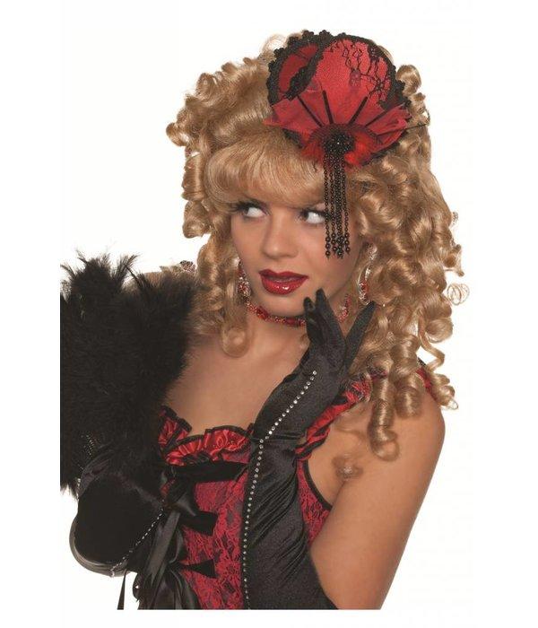 Mini glamour hoedje elite rood