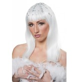 Disco queen pruik wit met steentjes