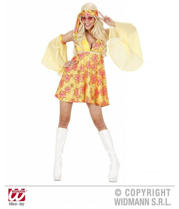 70's kostuum vrouw geel