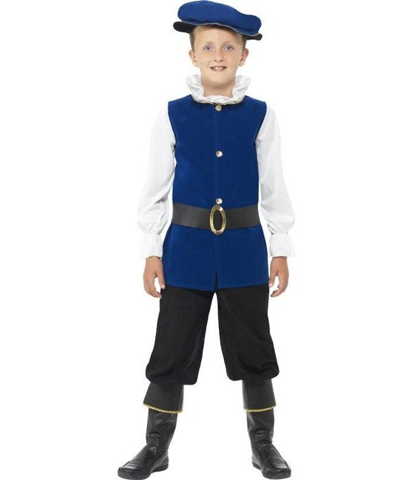 Tudor jongen kostuum Royal Blue