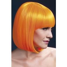 Professionele pruik bobline neon oranje