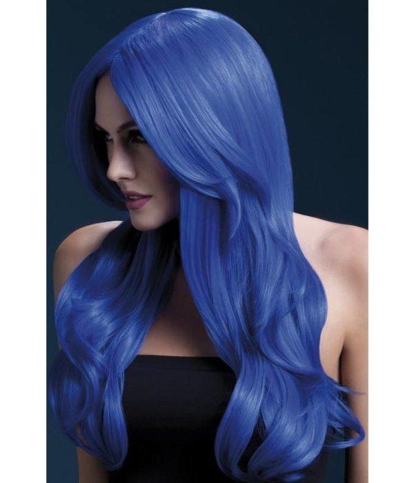 Professionele pruik lang neon blauw