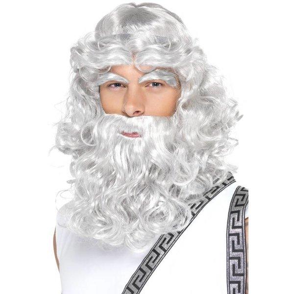 Zeus pruik met baard en wenkbrauwen