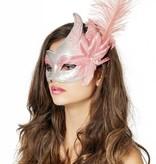 Venetiaanse masker met 2 punten roze