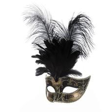 Venetiaanse masker grote veren muzieknoot zwart