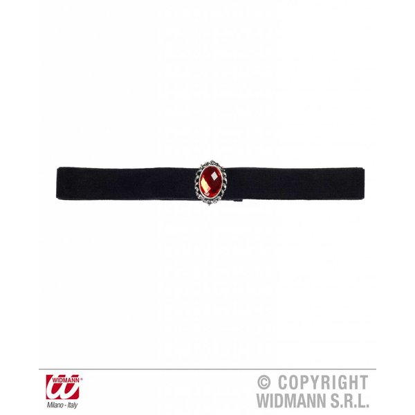 Nekband fluweel zwart met rode steen