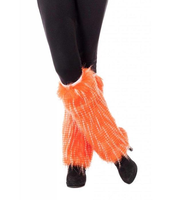 Beenwarmers pluche neon oranje