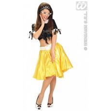 Satijnen rokje met petticoat geel