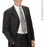Satijnen stropdas wit met zwarte strepen