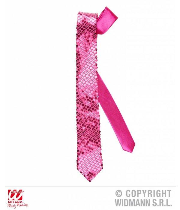 Stropdas roze pailletten