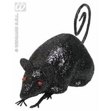 Glitter muis zwart 12cm