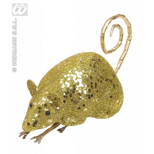 Glitter muis goud 12cm
