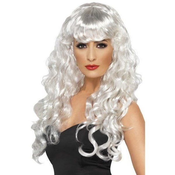 Pruik Siren lang haar wit