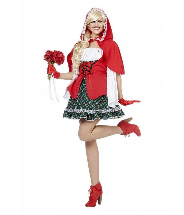Rood Kapje dame met rode cape elite