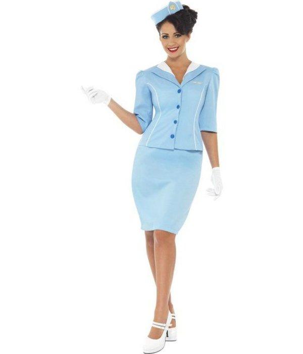 Air Hostess kostuum blauw