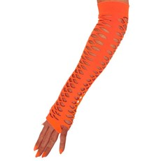 Handschoenen grote gaten fluor oranje 40cm