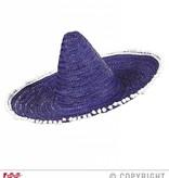 Sombrero paars/blauw 50cm met pompons