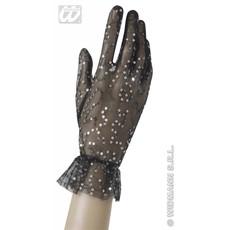 Nethandschoenen met pailletten zwart