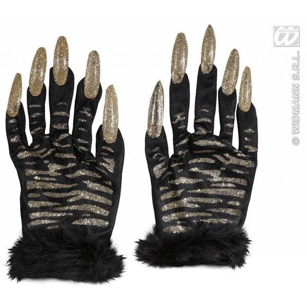 Handschoenen tijger met gouden glitternagels