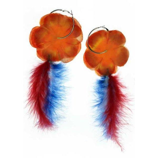 Oorringen oranje bloem met veren